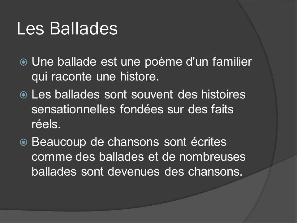 Les Ballades Une ballade est une poème d un familier qui raconte une histore.