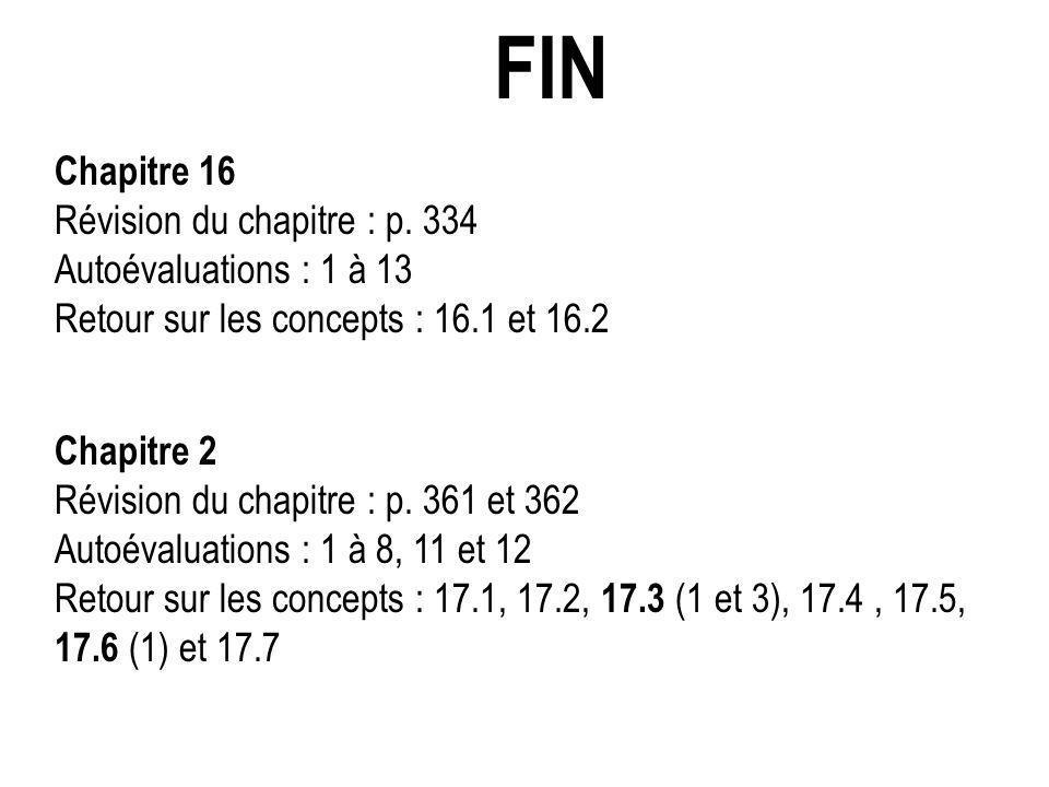 FIN Chapitre 16 Révision du chapitre : p. 334 Autoévaluations : 1 à 13