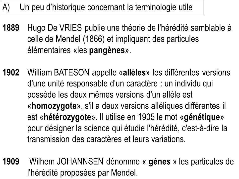 A) Un peu d'historique concernant la terminologie utile