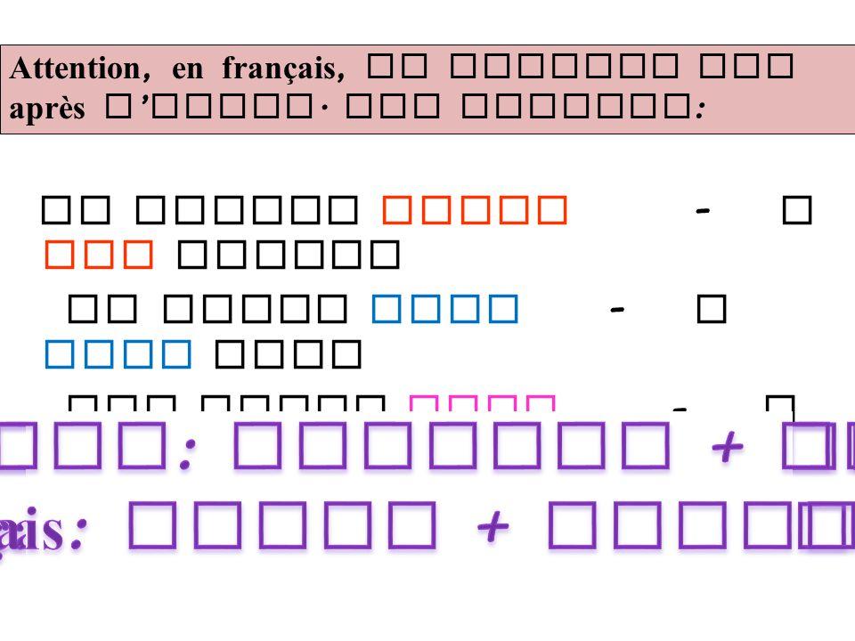 Anglais: couleur + objet Français: objet + couleur