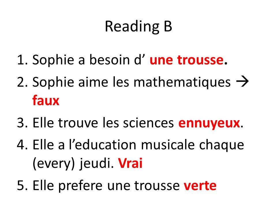 Reading B Sophie a besoin d' une trousse.