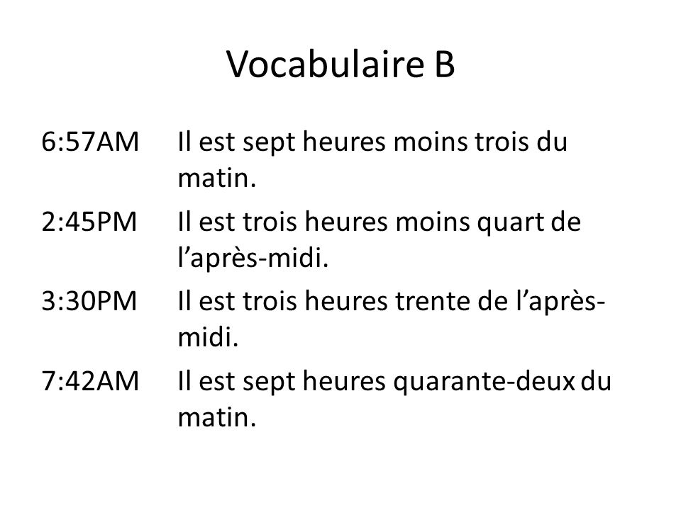 Vocabulaire B