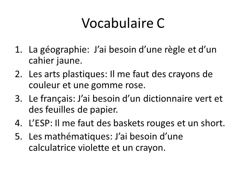 Vocabulaire C La géographie: J'ai besoin d'une règle et d'un cahier jaune.