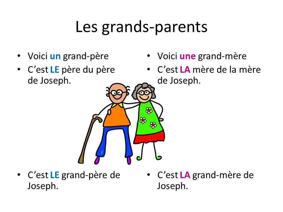 Les grands-parents Voici un grand-père