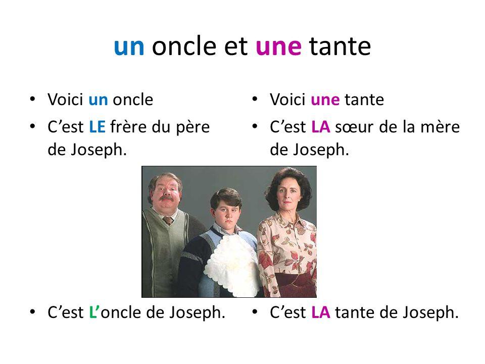 un oncle et une tante Voici un oncle C'est LE frère du père de Joseph.
