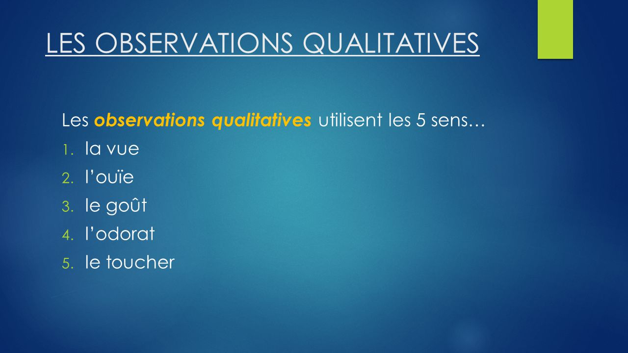 LES OBSERVATIONS QUALITATIVES