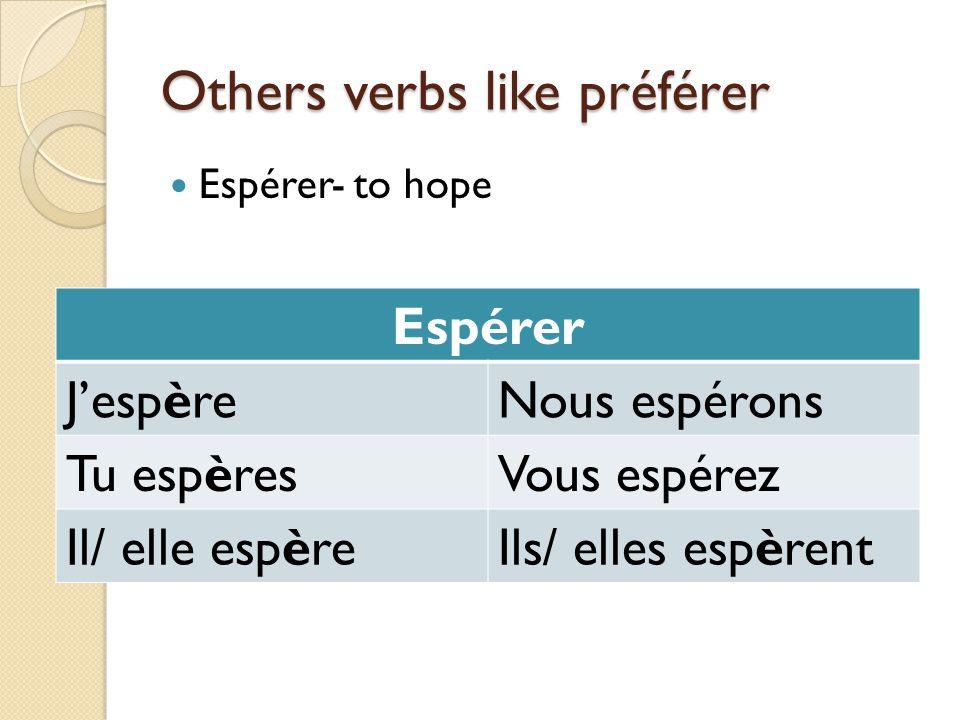 Others verbs like préférer
