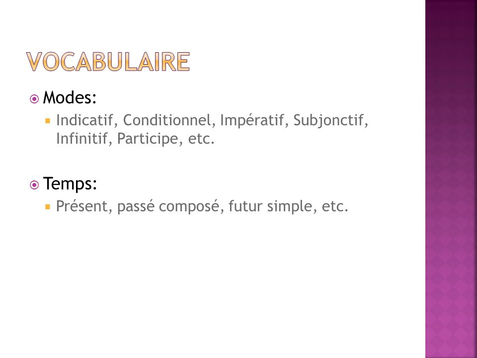 Vocabulaire Modes: Temps: