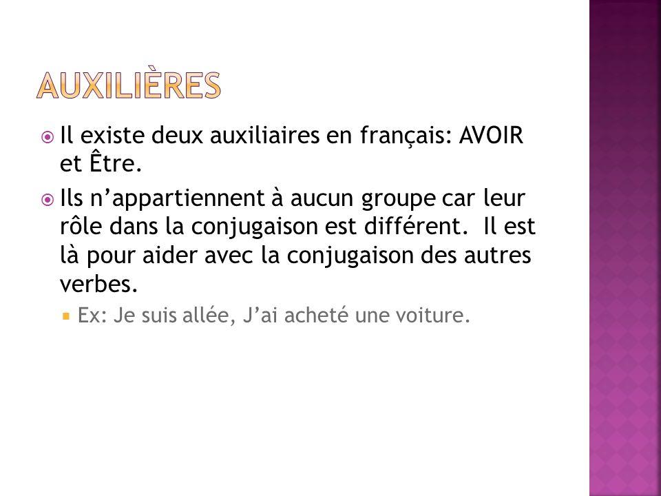 Auxilières Il existe deux auxiliaires en français: AVOIR et Être.