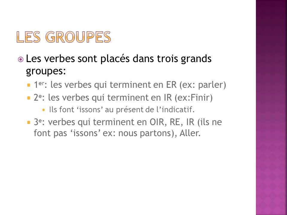 Les groupes Les verbes sont placés dans trois grands groupes: