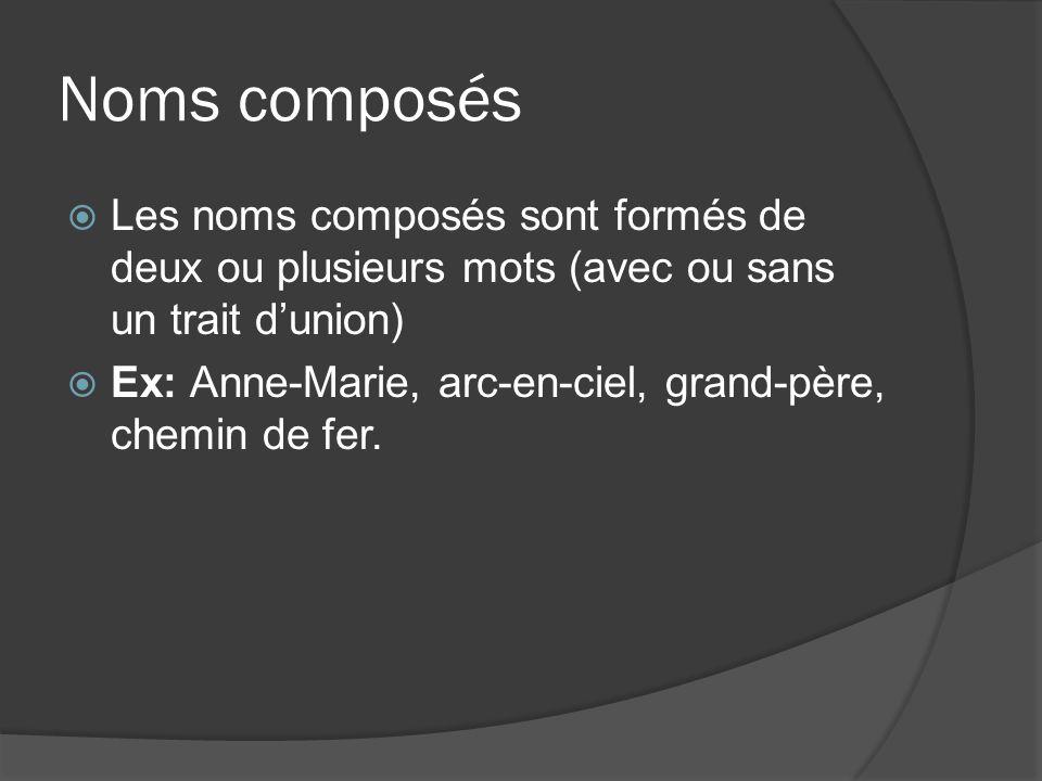 Noms composés Les noms composés sont formés de deux ou plusieurs mots (avec ou sans un trait d'union)