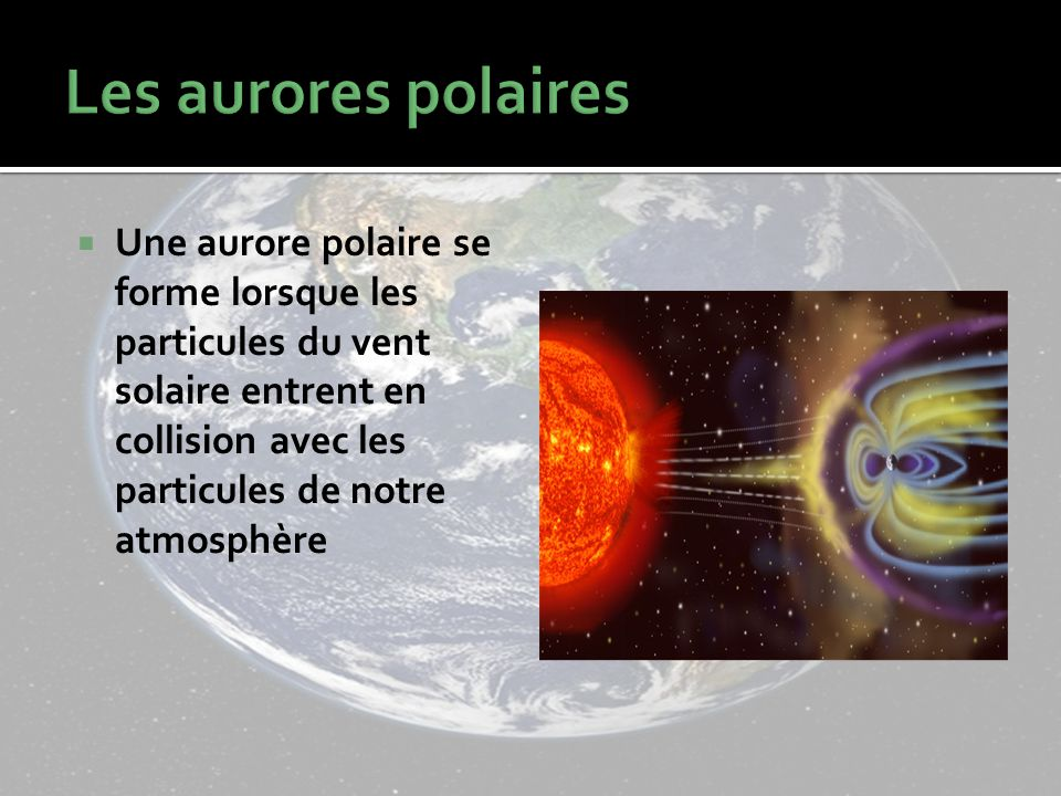 Les aurores polaires Une aurore polaire se forme lorsque les particules du vent solaire entrent en collision avec les particules de notre atmosphère.