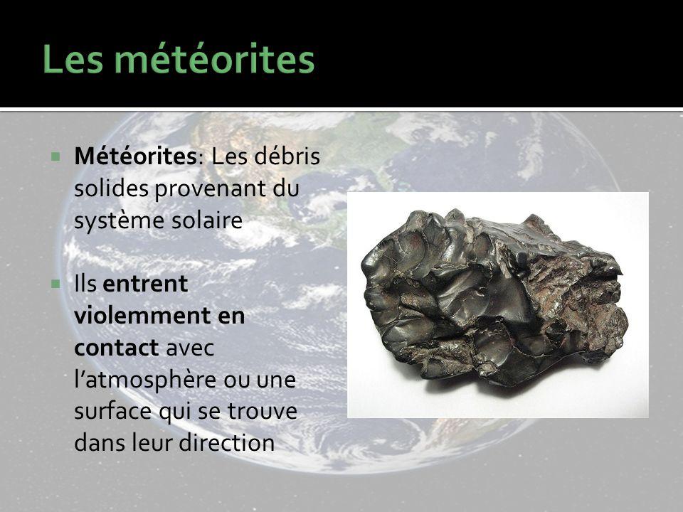 Les météorites Météorites: Les débris solides provenant du système solaire.
