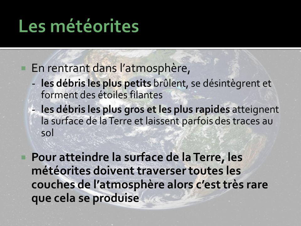 Les météorites En rentrant dans l'atmosphère,