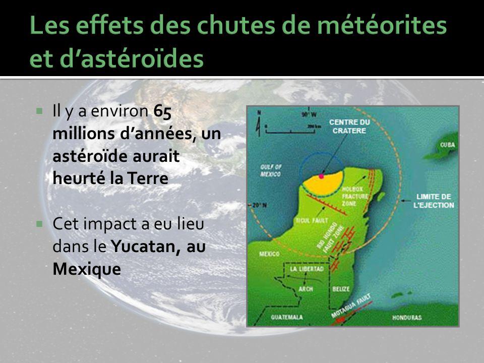 Les effets des chutes de météorites et d'astéroïdes