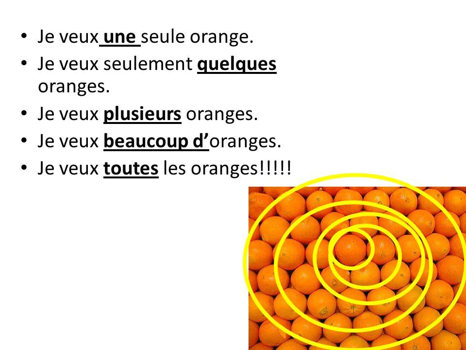 Je veux une seule orange.