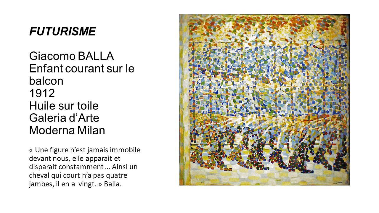 FUTURISME Giacomo BALLA Enfant courant sur le balcon 1912 Huile sur toile Galeria d'Arte Moderna Milan