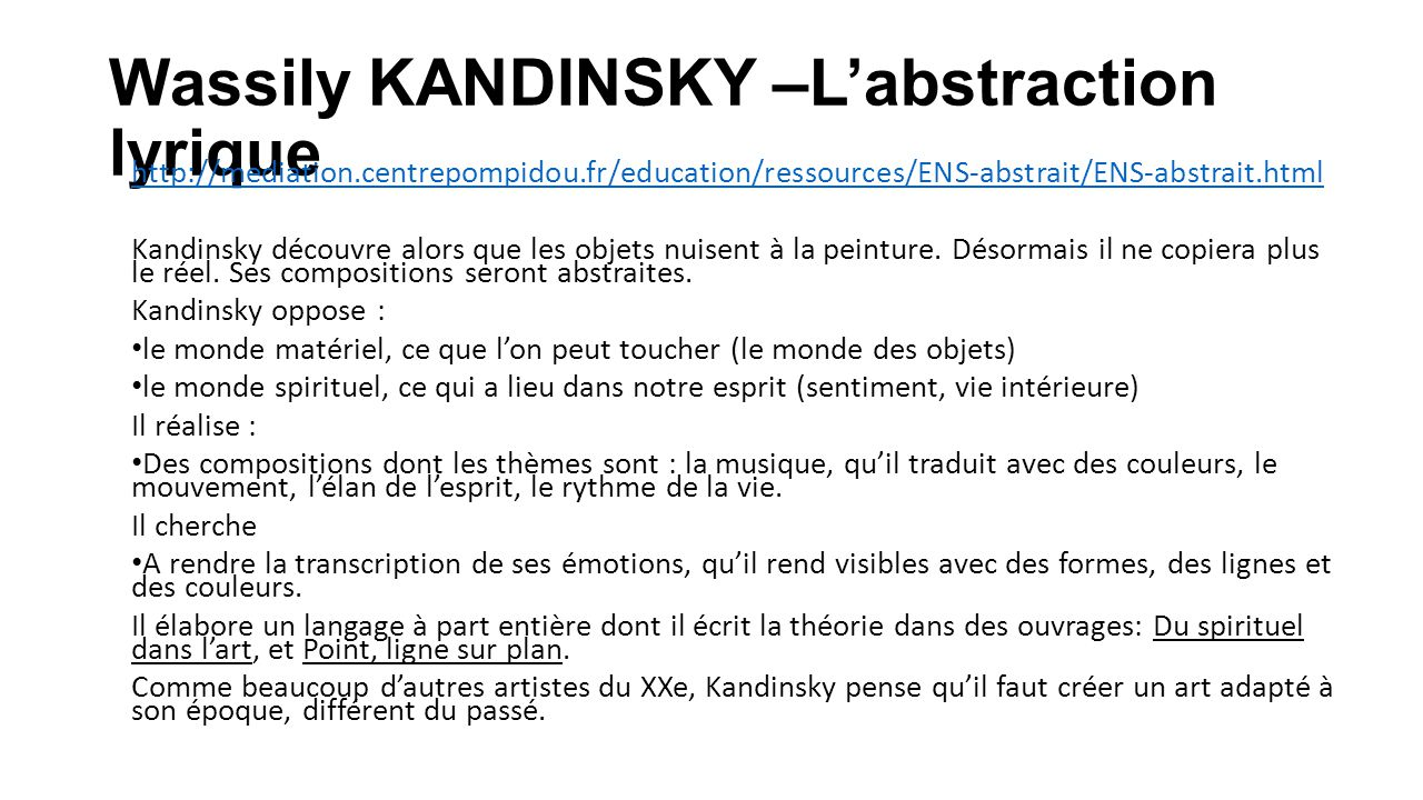 Wassily KANDINSKY –L'abstraction lyrique