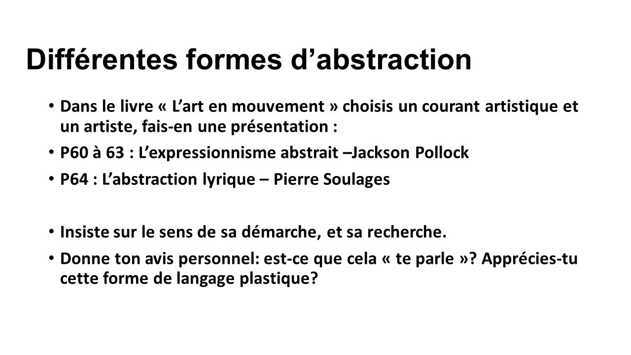Différentes formes d'abstraction