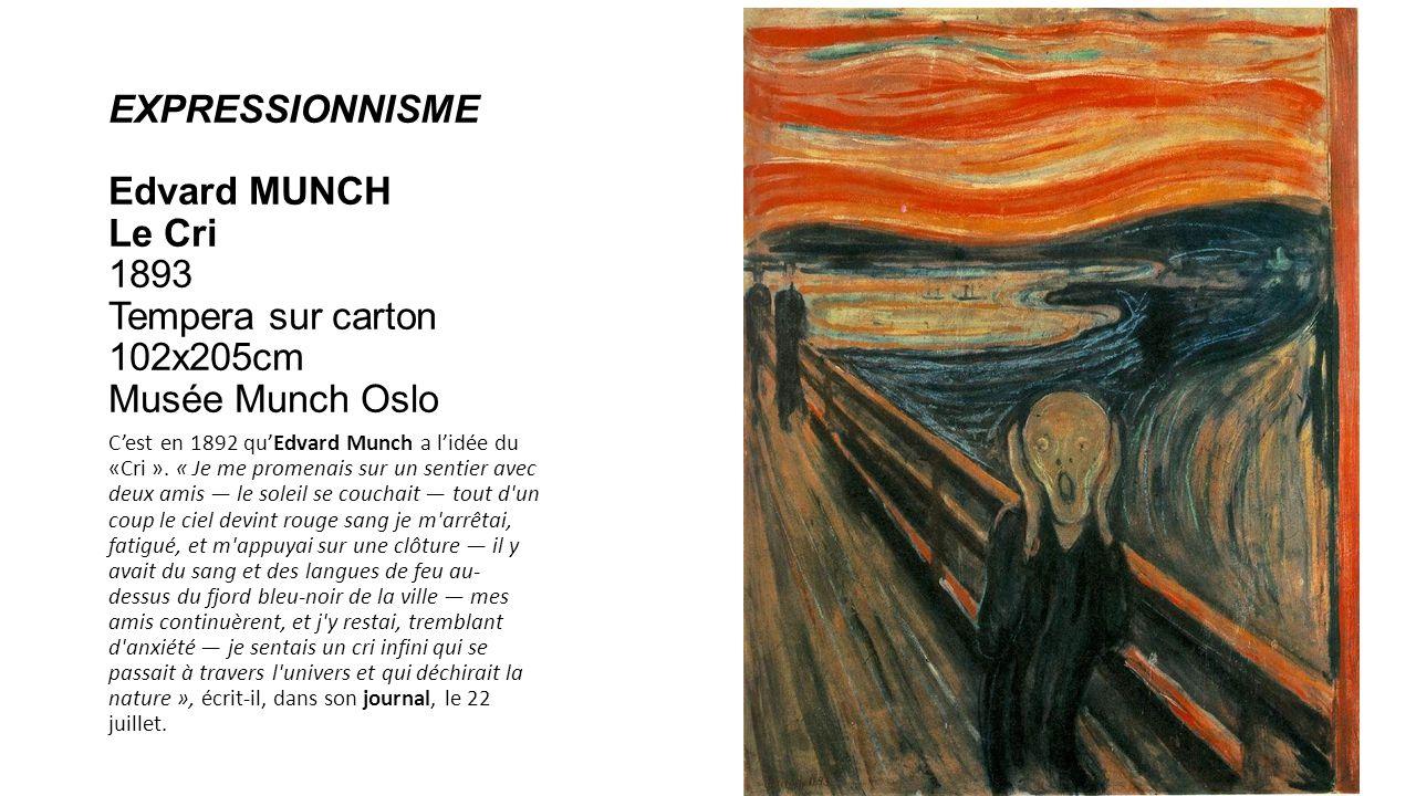EXPRESSIONNISME Edvard MUNCH Le Cri 1893 Tempera sur carton 102x205cm Musée Munch Oslo