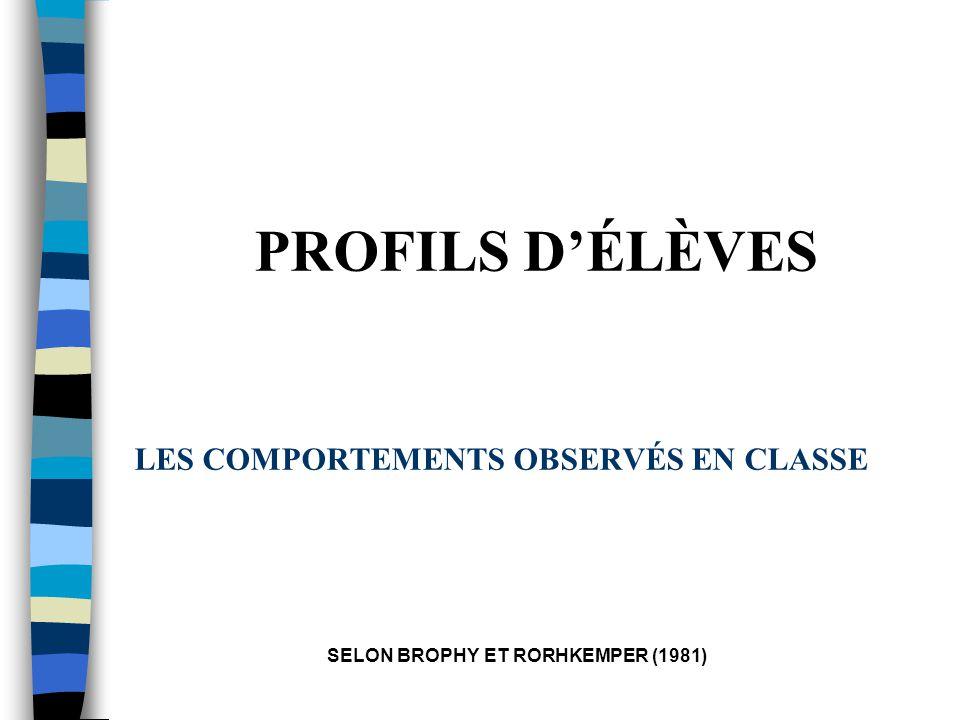 LES COMPORTEMENTS OBSERVÉS EN CLASSE