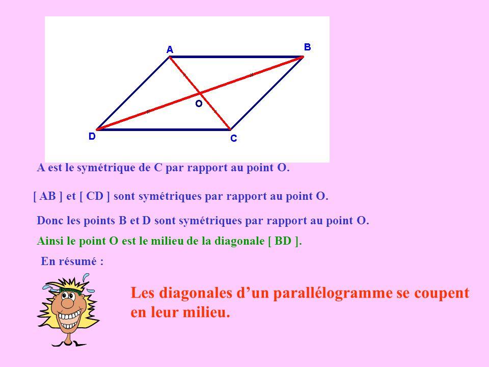 Les diagonales d'un parallélogramme se coupent en leur milieu.