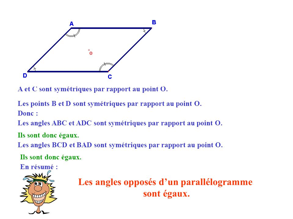 Les angles opposés d'un parallélogramme
