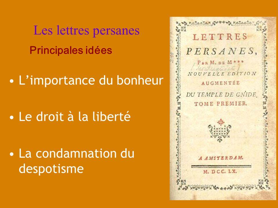 Les lettres persanes L'importance du bonheur Le droit à la liberté