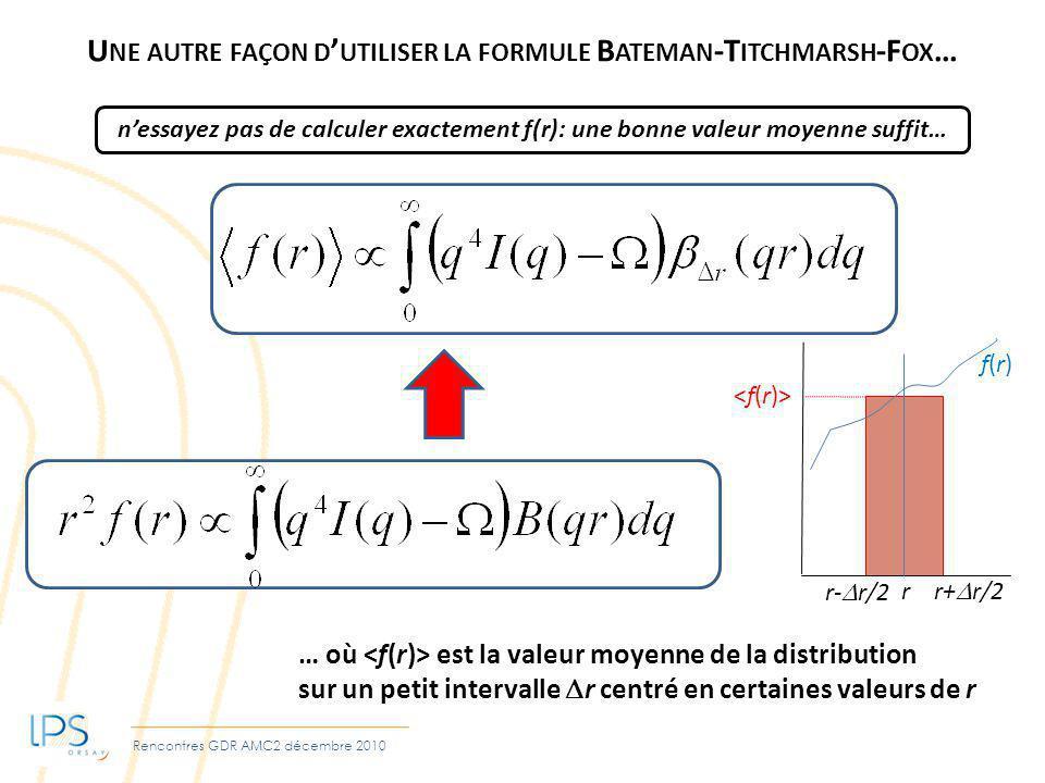 Une autre façon d'utiliser la formule Bateman-Titchmarsh-Fox…