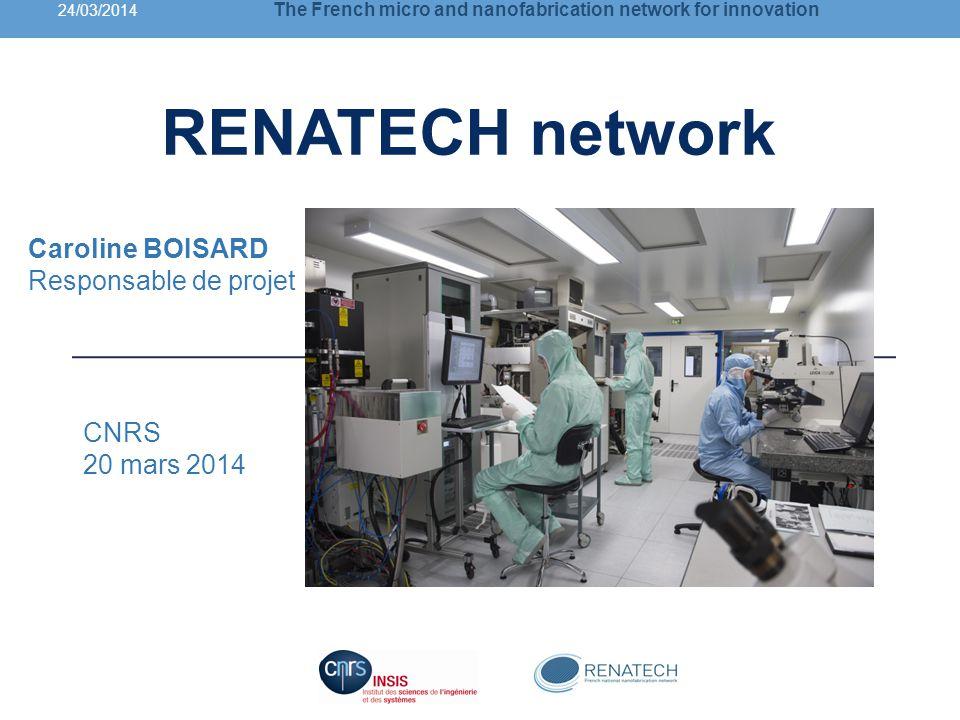 RENATECH network Caroline BOISARD Responsable de projet CNRS