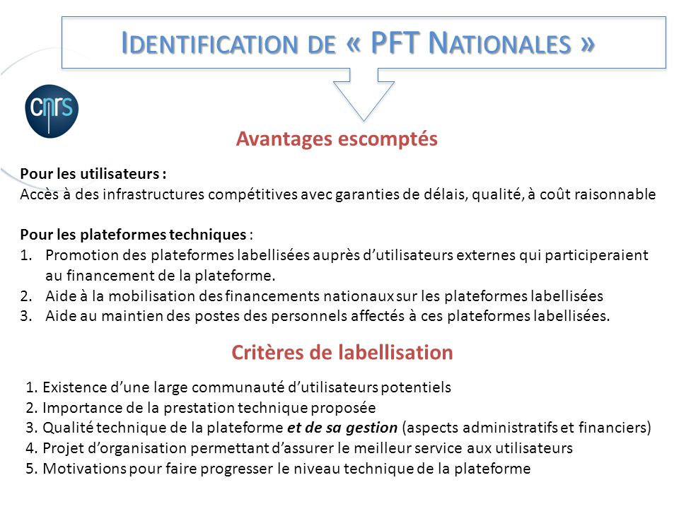 Identification de « PFT Nationales »