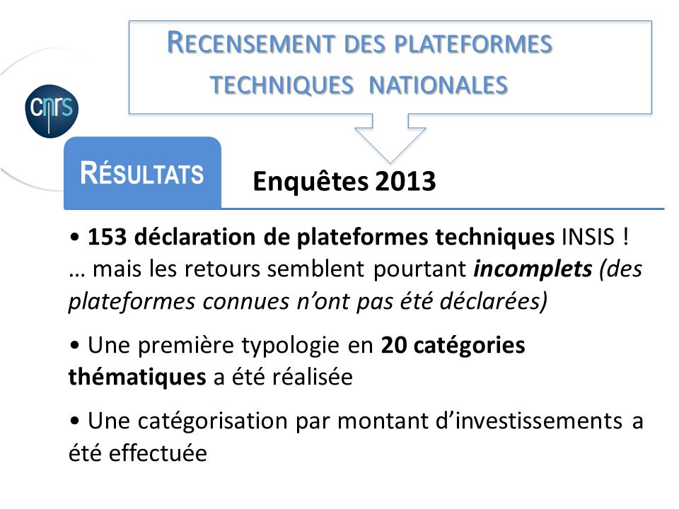 Recensement des plateformes techniques nationales
