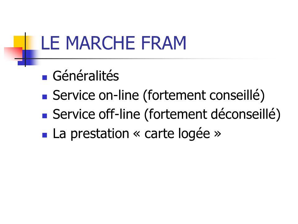 LE MARCHE FRAM Généralités Service on-line (fortement conseillé)