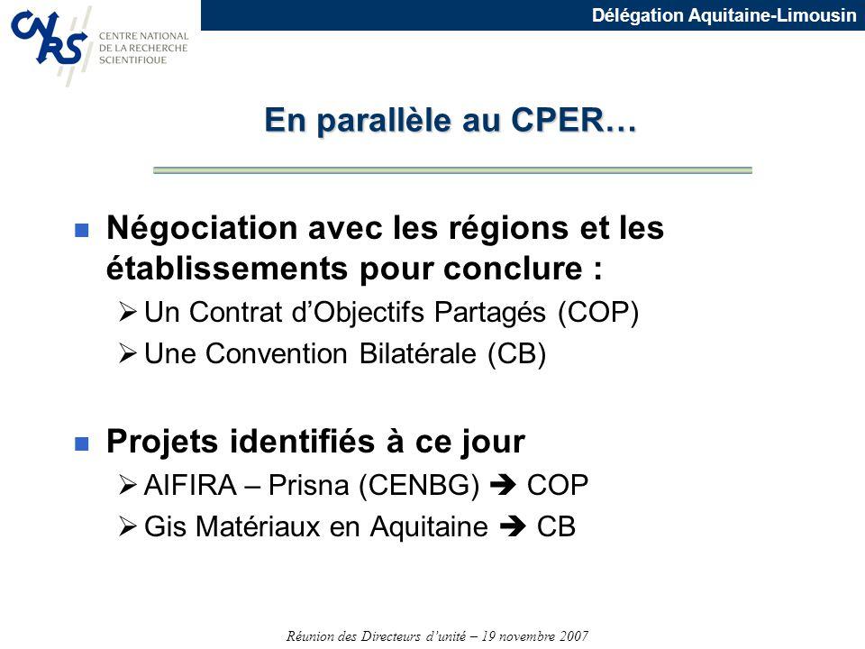 Négociation avec les régions et les établissements pour conclure :