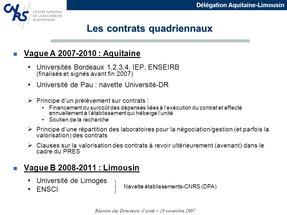 Les contrats quadriennaux