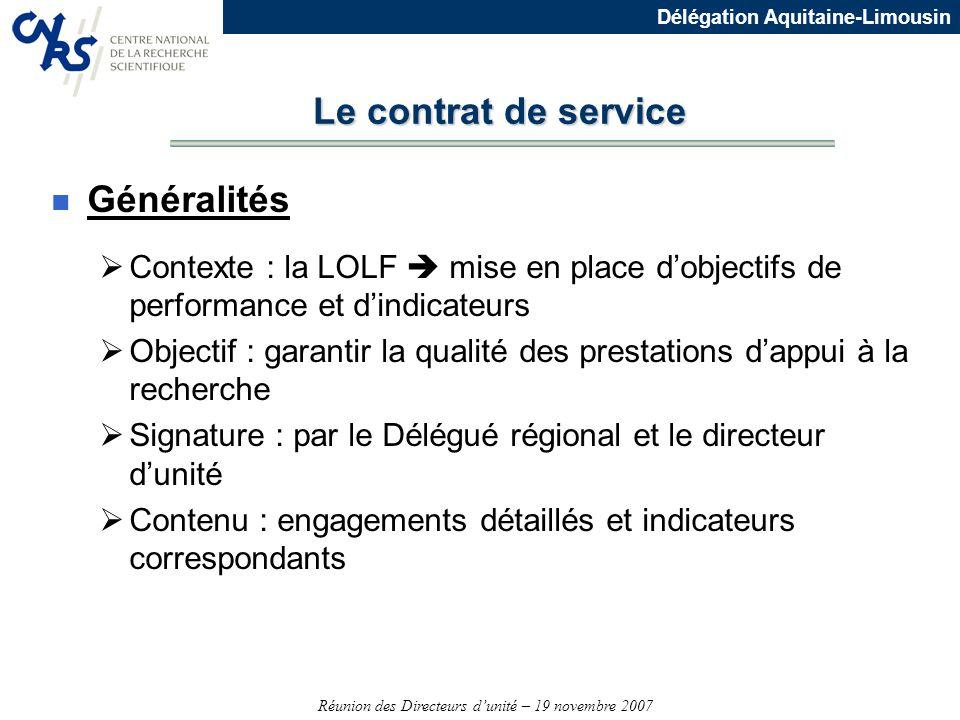 Le contrat de service Généralités