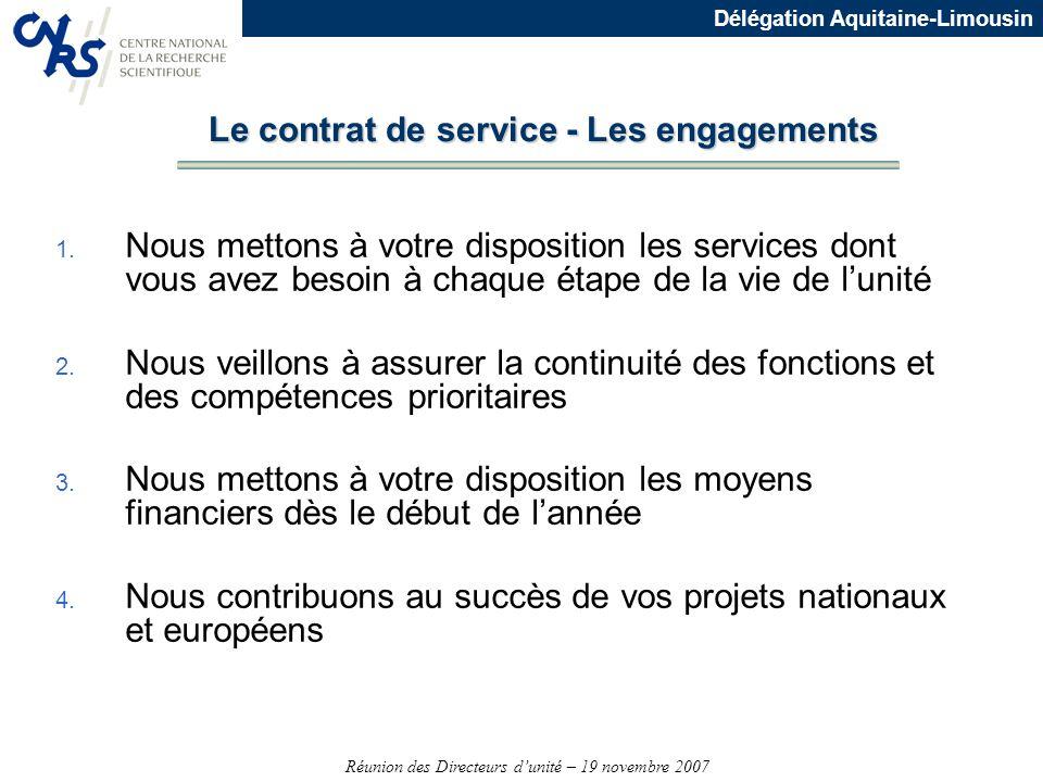 Le contrat de service - Les engagements