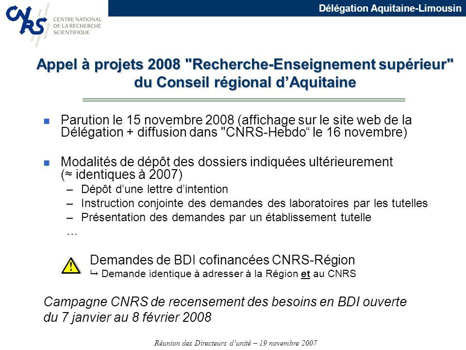 Appel à projets 2008 Recherche-Enseignement supérieur du Conseil régional d'Aquitaine