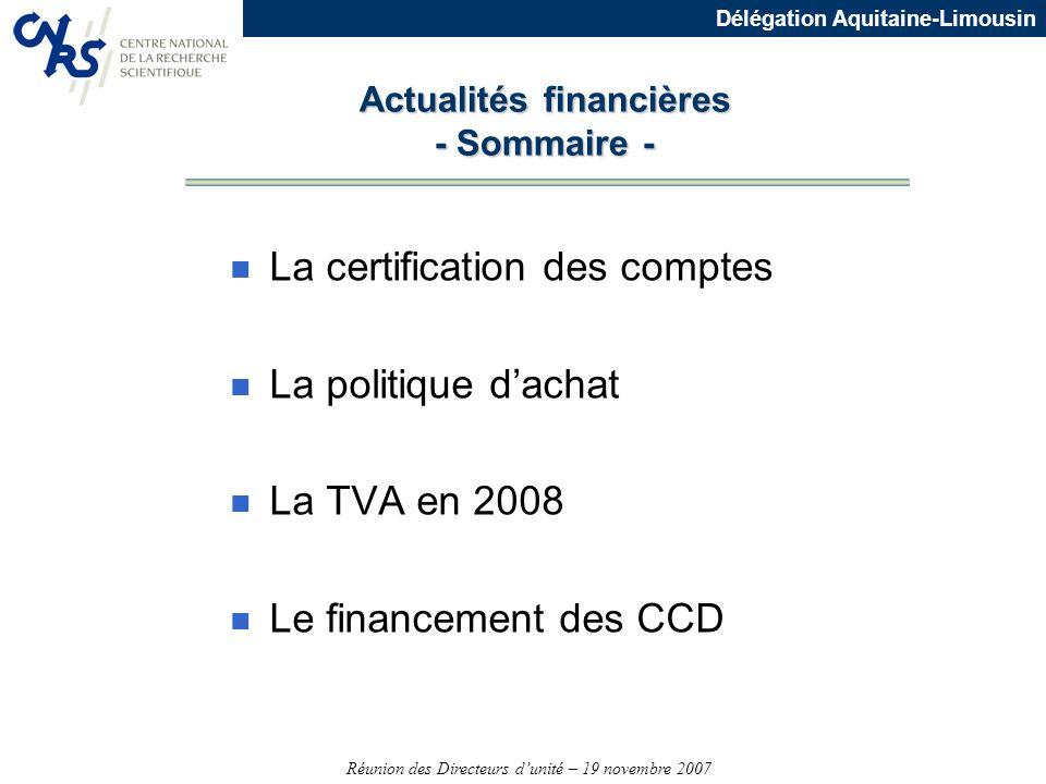 Actualités financières - Sommaire -