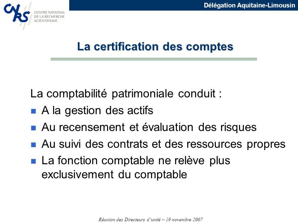 La certification des comptes