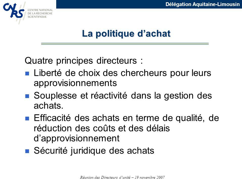 La politique d'achat Quatre principes directeurs : Liberté de choix des chercheurs pour leurs approvisionnements.