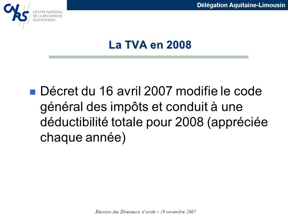 La TVA en 2008 Décret du 16 avril 2007 modifie le code général des impôts et conduit à une déductibilité totale pour 2008 (appréciée chaque année)