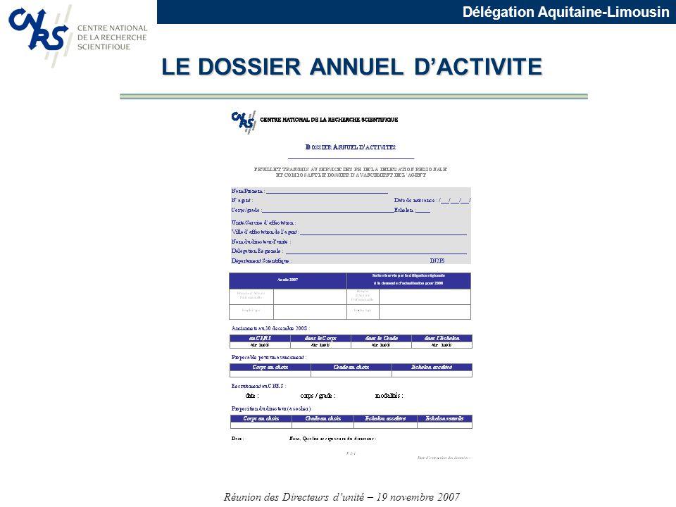 LE DOSSIER ANNUEL D'ACTIVITE