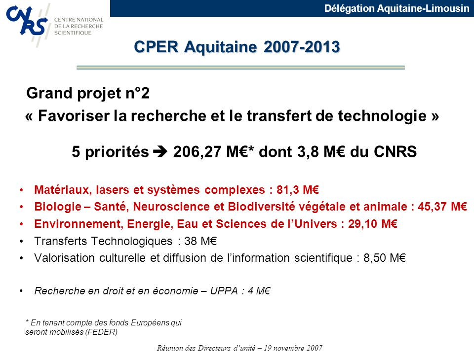 CPER Aquitaine 2007-2013 Grand projet n°2