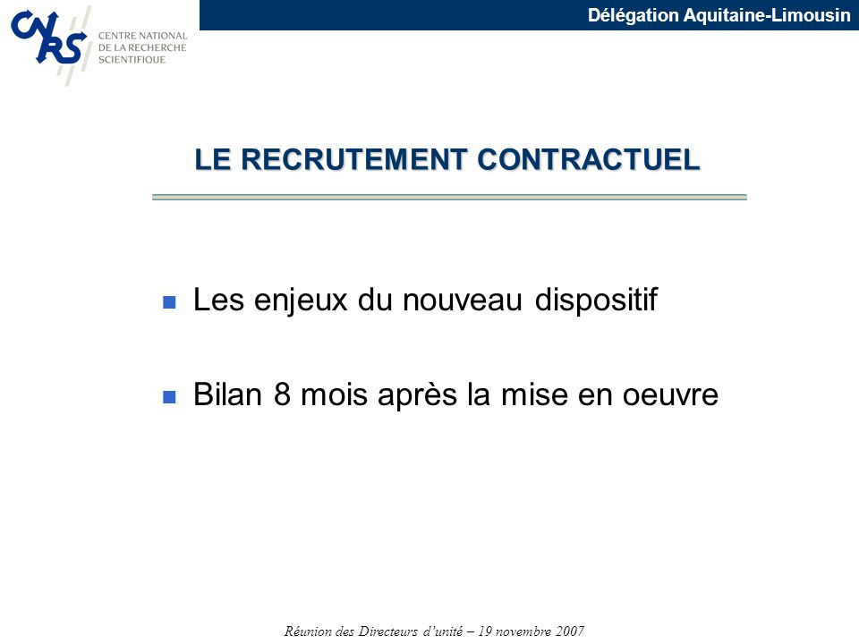 LE RECRUTEMENT CONTRACTUEL