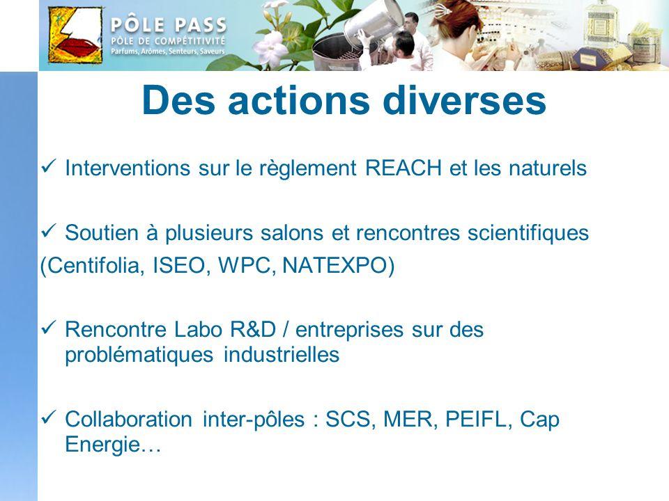 Des actions diverses Interventions sur le règlement REACH et les naturels. Soutien à plusieurs salons et rencontres scientifiques.