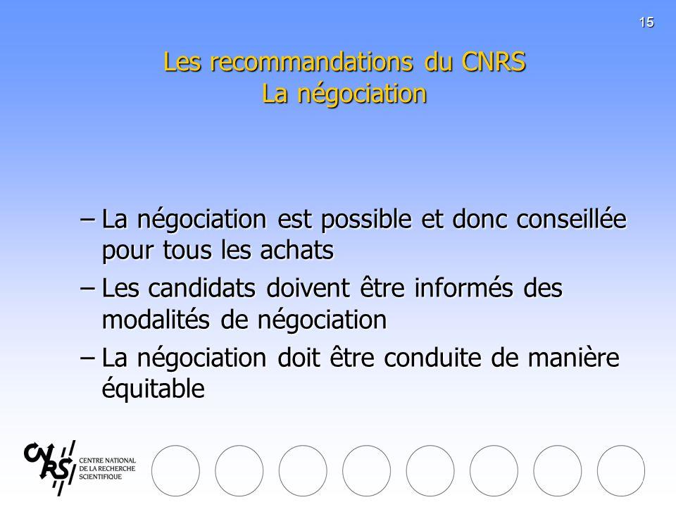 Les recommandations du CNRS La négociation