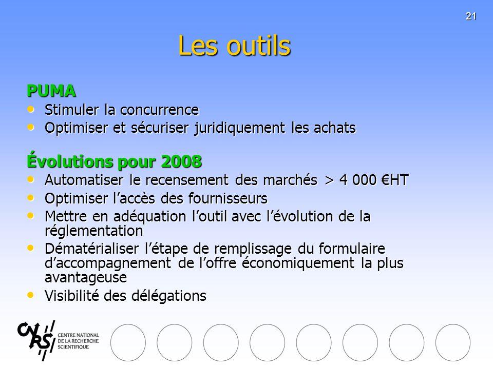 Les outils PUMA Évolutions pour 2008 Stimuler la concurrence