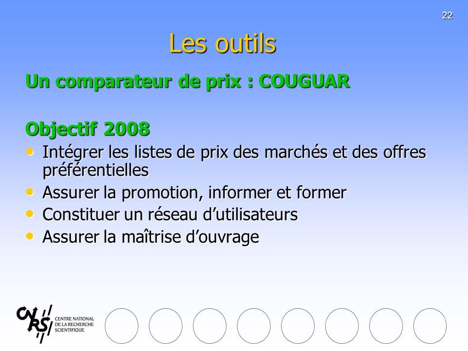 Les outils Un comparateur de prix : COUGUAR Objectif 2008
