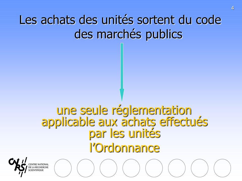 Les achats des unités sortent du code des marchés publics